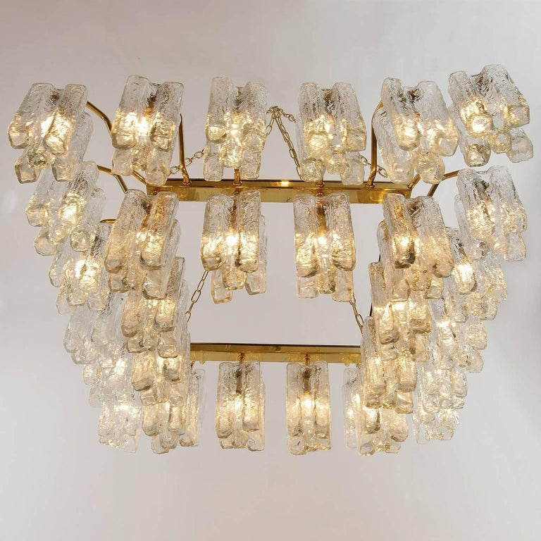 One of Four Huge Kalmar 'Granada' Chandeliers Flush Mount Light Brass Glass 1970 For Sale 1