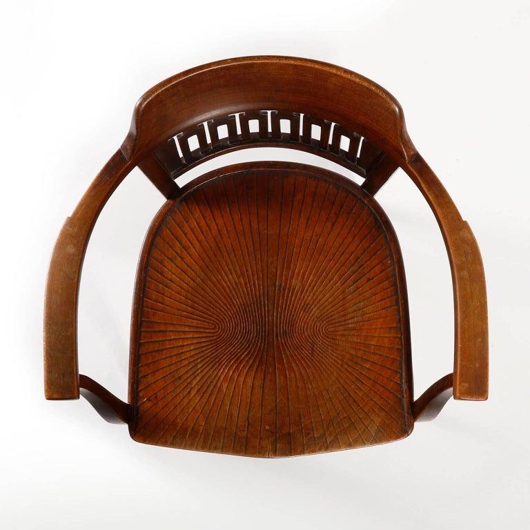 Beech Otto Wagner Chair Armchair by J.&J. Kohn, Austria, Vienna Secession, circa 1900 For Sale