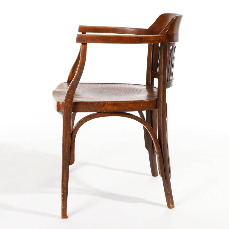 Polished Otto Wagner Chair Armchair by J.&J. Kohn, Austria, Vienna Secession, circa 1900 For Sale