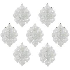 Set of Seven Kalmar 'Tulipan' Wall Lights Sconces, Bubble Glass Brass, 1970s