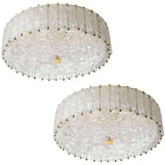 Two Flush Mount Lights Chandeliers, Brass Glass, Vereinigte Werkstätten, 1960s