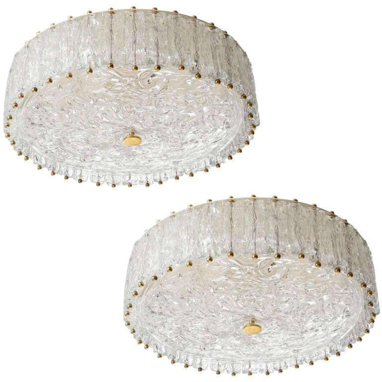 Two Flush Mount Lights Chandeliers, Brass Glass, Vereinigte Werkstätten, 1960s