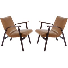 Pair of Roland Rainer Lounge Chairs Armchairs Cafe Ritter, Velvet Wood, 1950s
