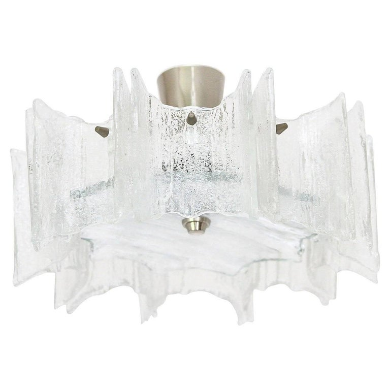 Kalmar Glass Flush Mount Light Fixture, circa 1960