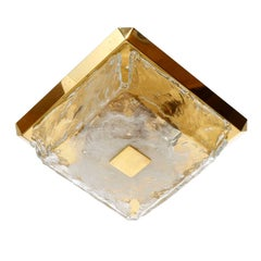 Kalmar Brass Glass Flush Mount Light Fixture or Sconce, 1970