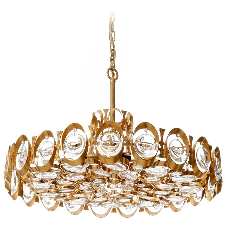 Palwa Chandelier or Pendant Light, Gilt Brass and Crystal Glass, 1970