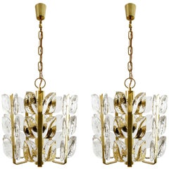 Two Kalmar Chandeliers or Pendant Lights 'Florida', Glass and Brass, 1970