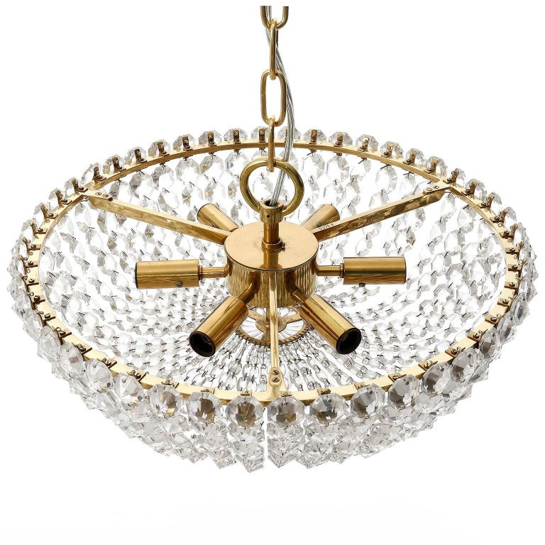 Mid-20th Century Two Lobmeyr Pendant Lights Chandeliers No. 6276, Brass Crystal Glass, 1960 For Sale