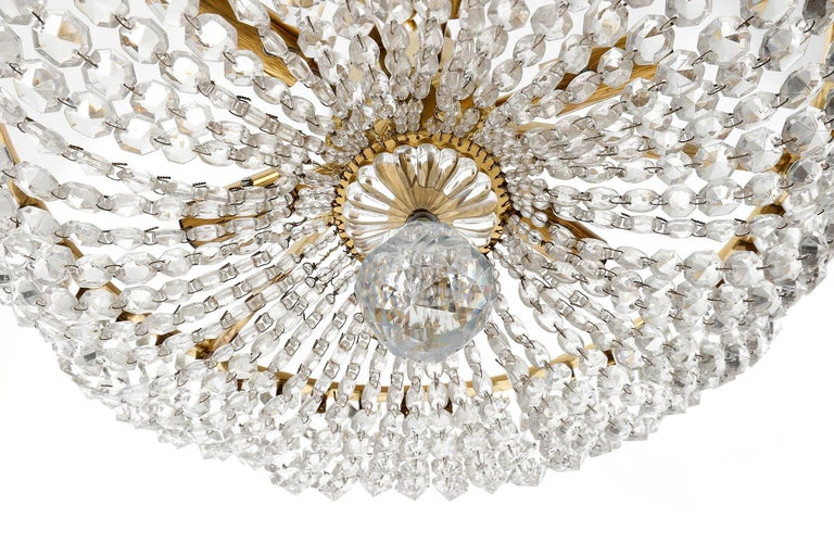 Two Lobmeyr Pendant Lights Chandeliers No. 6276, Brass Crystal Glass, 1960 For Sale 2