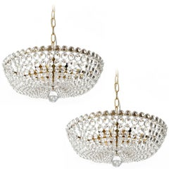 Two Lobmeyr Pendant Lights Chandeliers No. 6276, Brass Crystal Glass, 1960