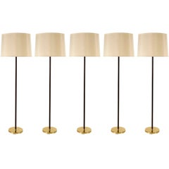 Five Kalmar Floor Lamps,  Brass Leather, 1960s