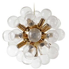 Kalmar Sputnik Pendant Light Chandelier 'RS 27', Brass Glass, 1970, One of Five