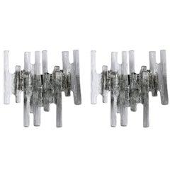 Three Pairs of Kalmar Sconces Wall Lights 'Pan', Glass Nickel, 1970s