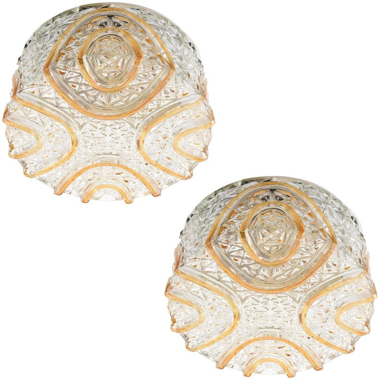 Pair of Sconces or Flush Mount Lights, Textured Amber Tone Glass, 1970