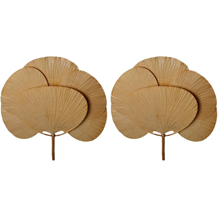 Pair of Large 'Uchiwa' Sconces Wall Lamps Lights, Ingo Maurer, Bamboo Paper