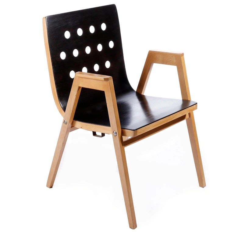 Velvet Roland Rainer Lounge Chair Armchair Cafe Ritter, Wood Newly Upholstered, 1950s For Sale