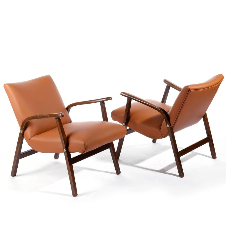 Roland Rainer Lounge Chair Armchair Cafe Ritter, Wood Newly Upholstered, 1950s For Sale 4