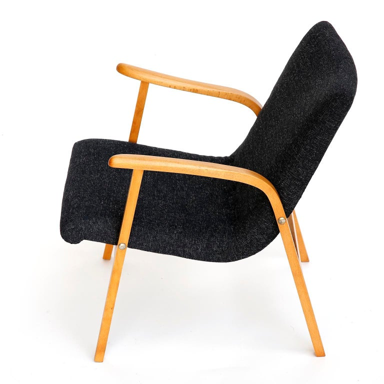Austrian Roland Rainer Lounge Chair Armchair Cafe Ritter, Wood Newly Upholstered, 1950s For Sale