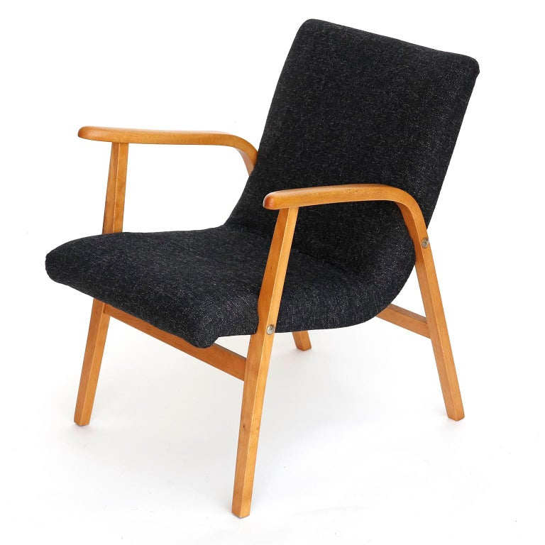Mid-Century Modern Roland Rainer Lounge Chair Armchair Cafe Ritter, Wood Newly Upholstered, 1950s For Sale