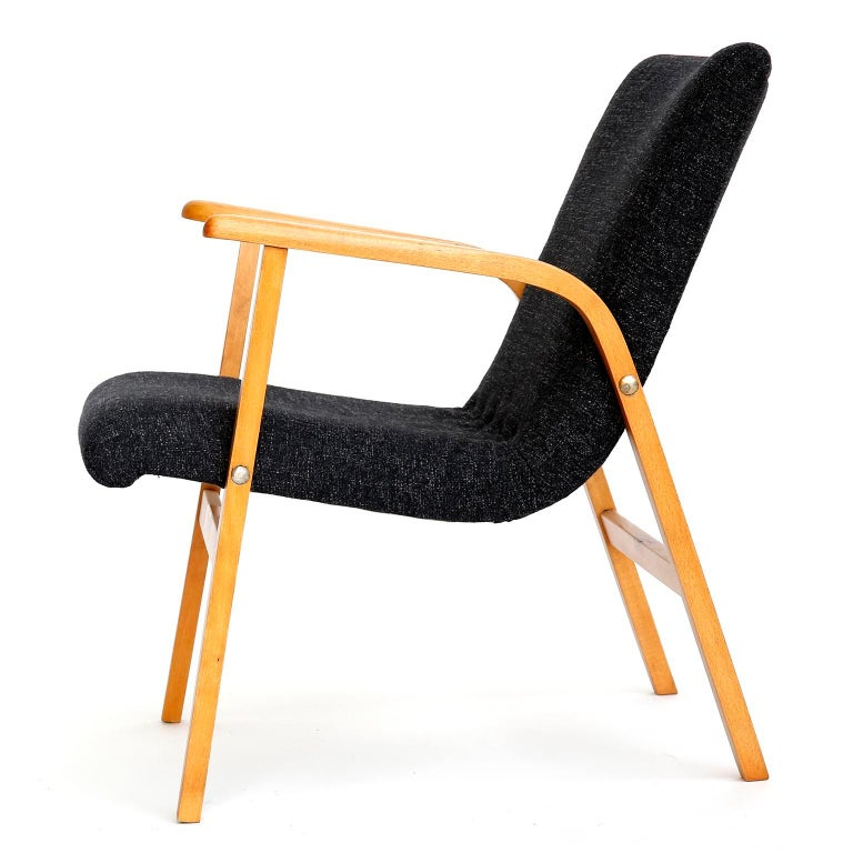 Stained Roland Rainer Lounge Chair Armchair Cafe Ritter, Wood Newly Upholstered, 1950s For Sale