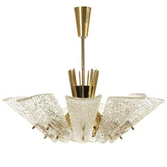 Large J.T. Kalmar Chandelier, Brass Textured Glass, Austria, 1950s, One of Two