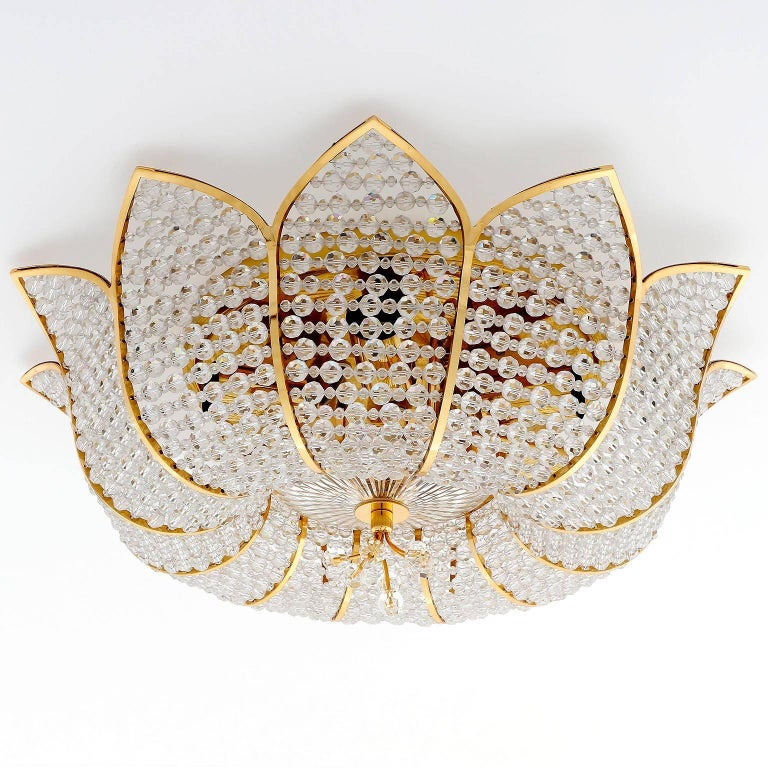Palwa Flush Mount Light, Gilt Brass Crystal Glass, 1970, One of Two 3