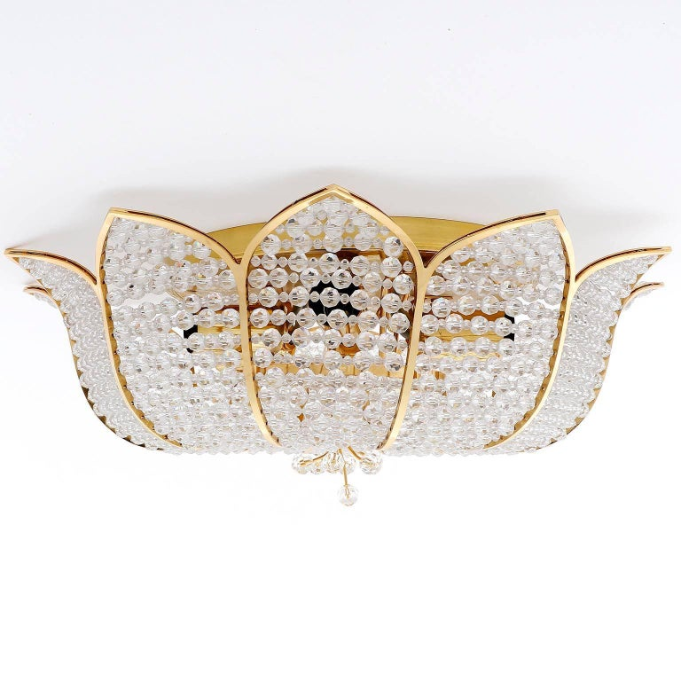 Palwa Flush Mount Light, Gilt Brass Crystal Glass, 1970, One of Two 4