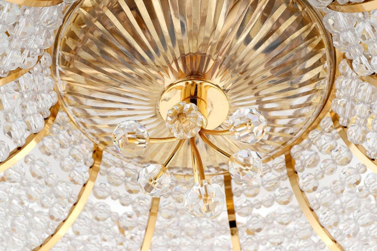 Palwa Flush Mount Light, Gilt Brass Crystal Glass, 1970, One of Two 7