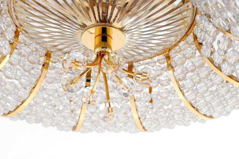 Palwa Flush Mount Light, Gilt Brass Crystal Glass, 1970, One of Two 8