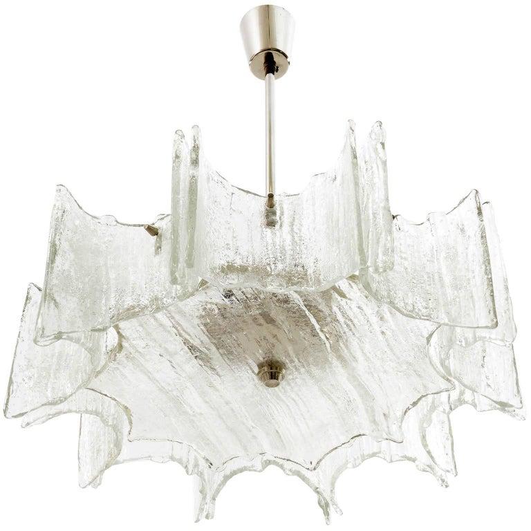 Mid-Century Modern Pair of Kalmar Chandeliers, Glass Nickel, 1970 For Sale