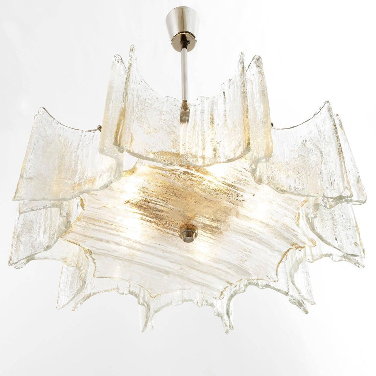Late 20th Century Pair of Kalmar Chandeliers, Glass Nickel, 1970 For Sale