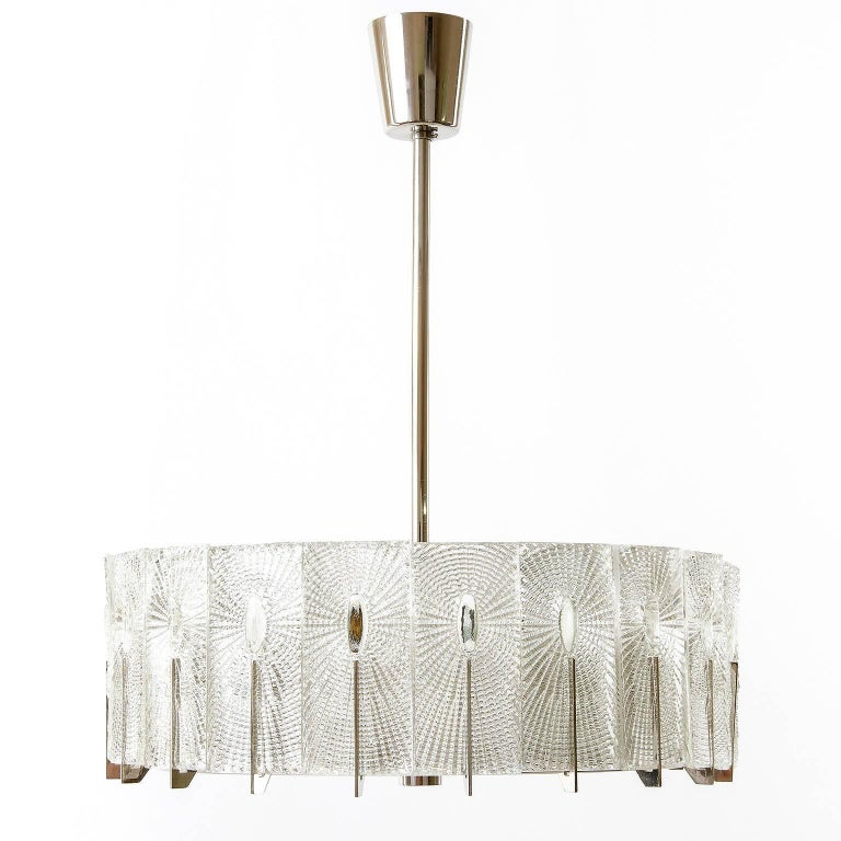 Three Chandeliers Pendant Lights by Rupert Nikoll, Glass Nickel, 1960 3