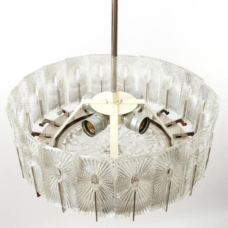 Three Chandeliers Pendant Lights by Rupert Nikoll, Glass Nickel, 1960 8