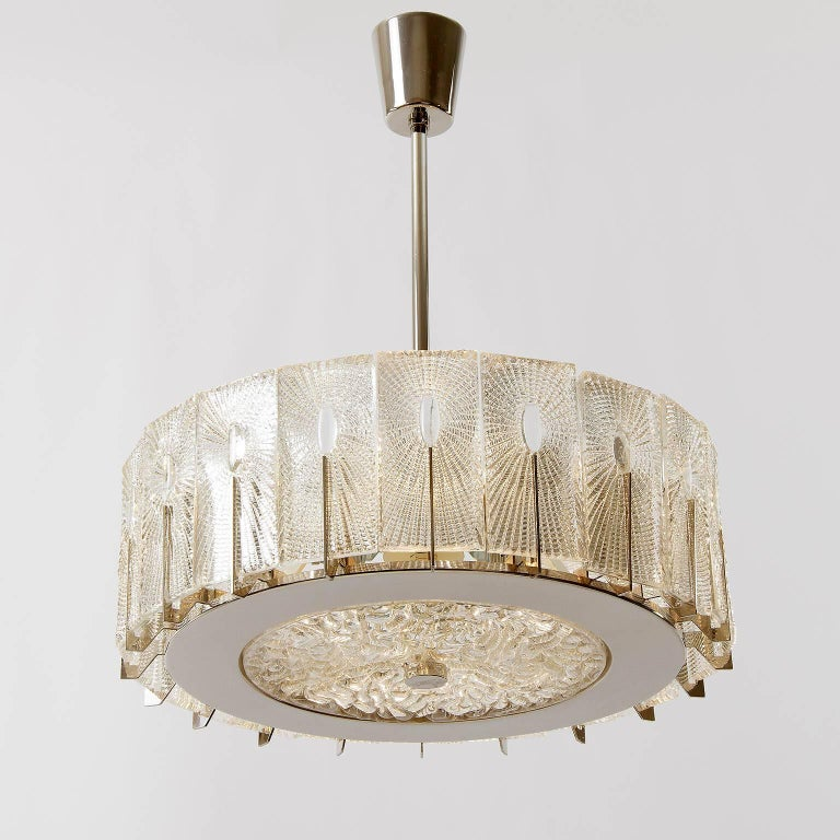 Three Chandeliers Pendant Lights by Rupert Nikoll, Glass Nickel, 1960 10