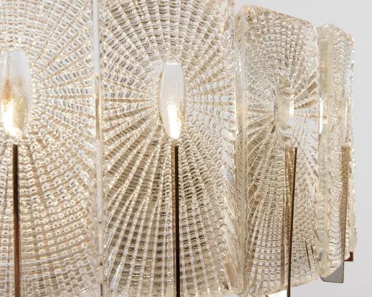 Three Chandeliers Pendant Lights by Rupert Nikoll, Glass Nickel, 1960 11