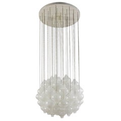 Kalmar 'Tulipan' Chandelier Pendant Light, Blown Glass, 1970, One of Two