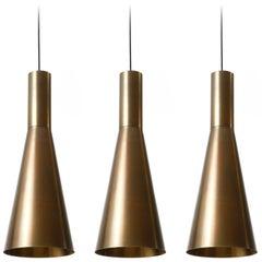 Set of Three Large Patinated Brass Pendant Lights, 1960s