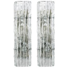 Pair of Large Kalmar Glass Sconces Wall Lights Lamps 'Fuerstenberg', 1970s
