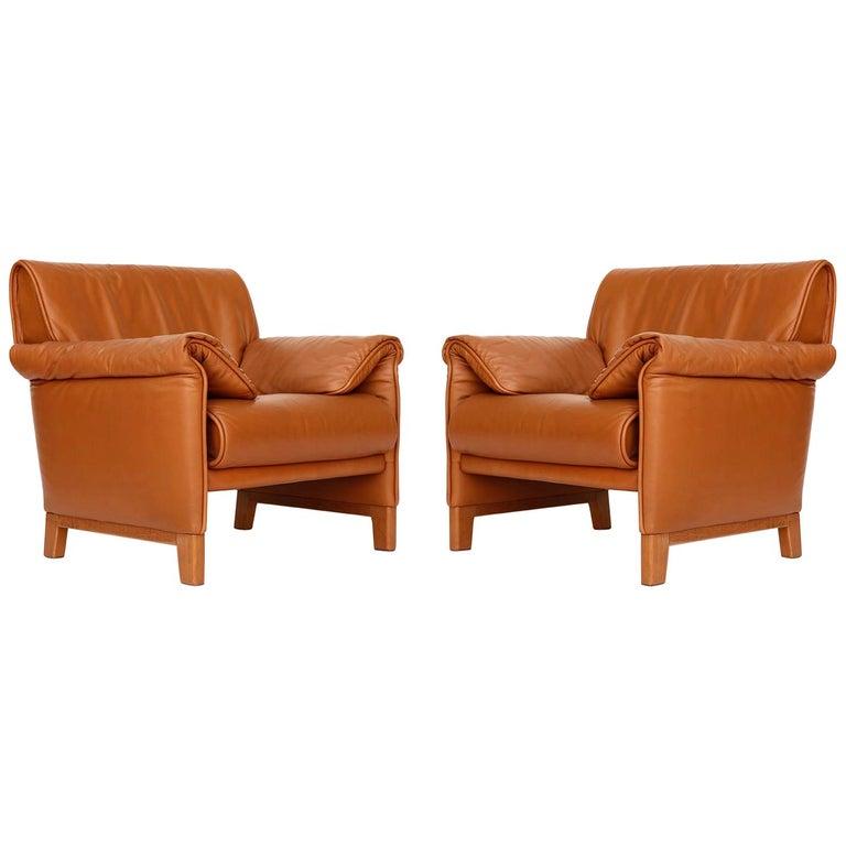 1 of 7 De Sede 'DS-14' Armchair Lounge Chair, Cognac Leather Teak, 1990s For Sale 1