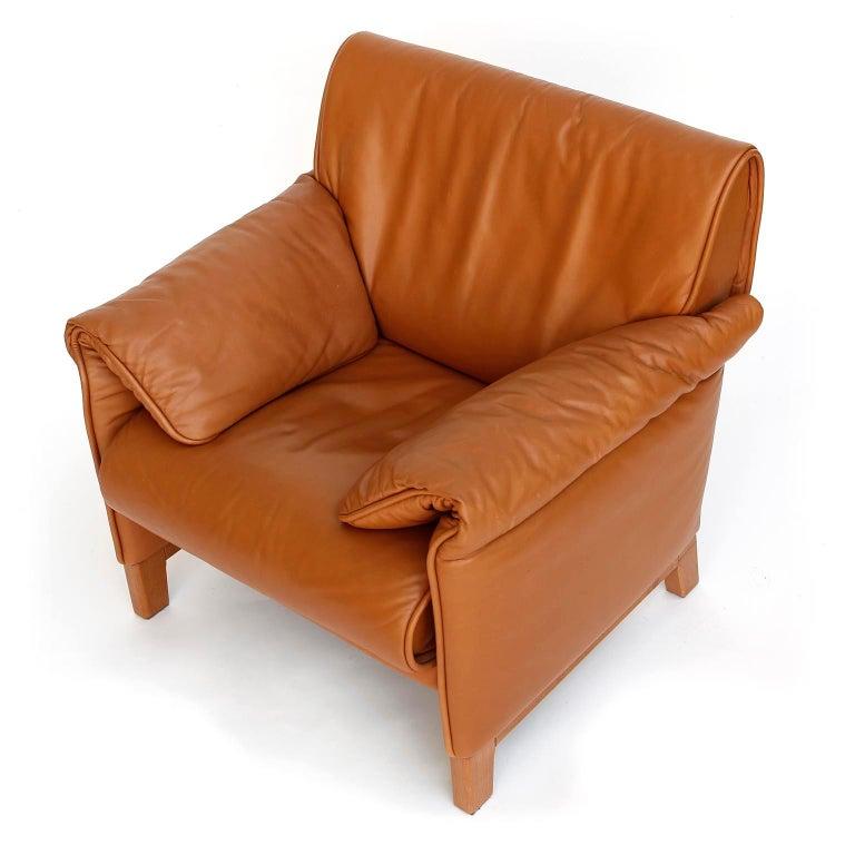 Modern 1 of 7 De Sede 'DS-14' Armchair Lounge Chair, Cognac Leather Teak, 1990s For Sale