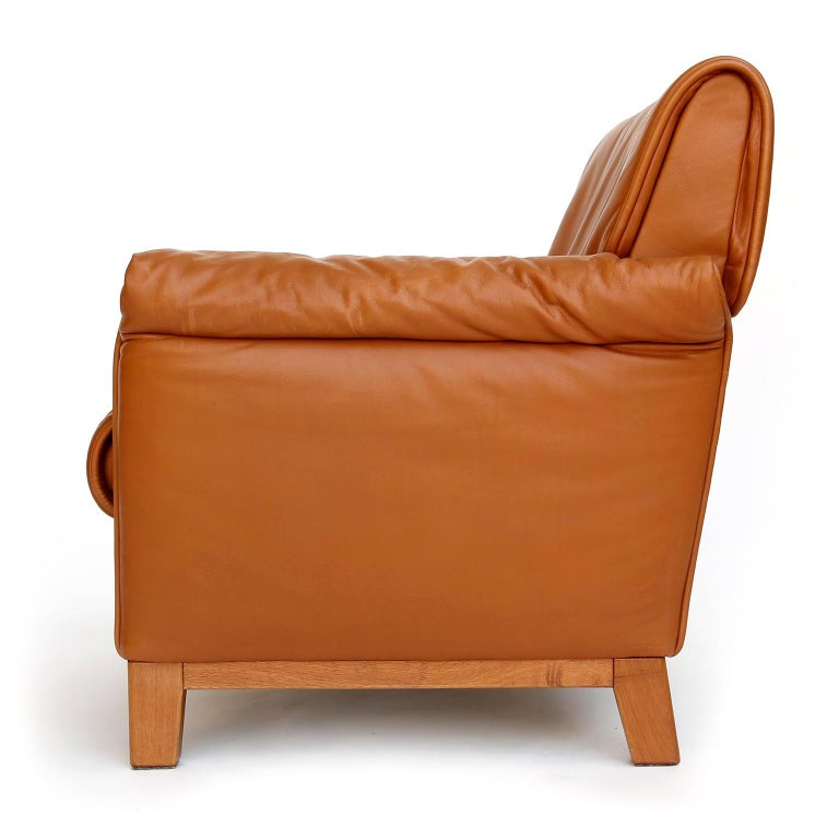 Swiss 1 of 7 De Sede 'DS-14' Armchair Lounge Chair, Cognac Leather Teak, 1990s For Sale
