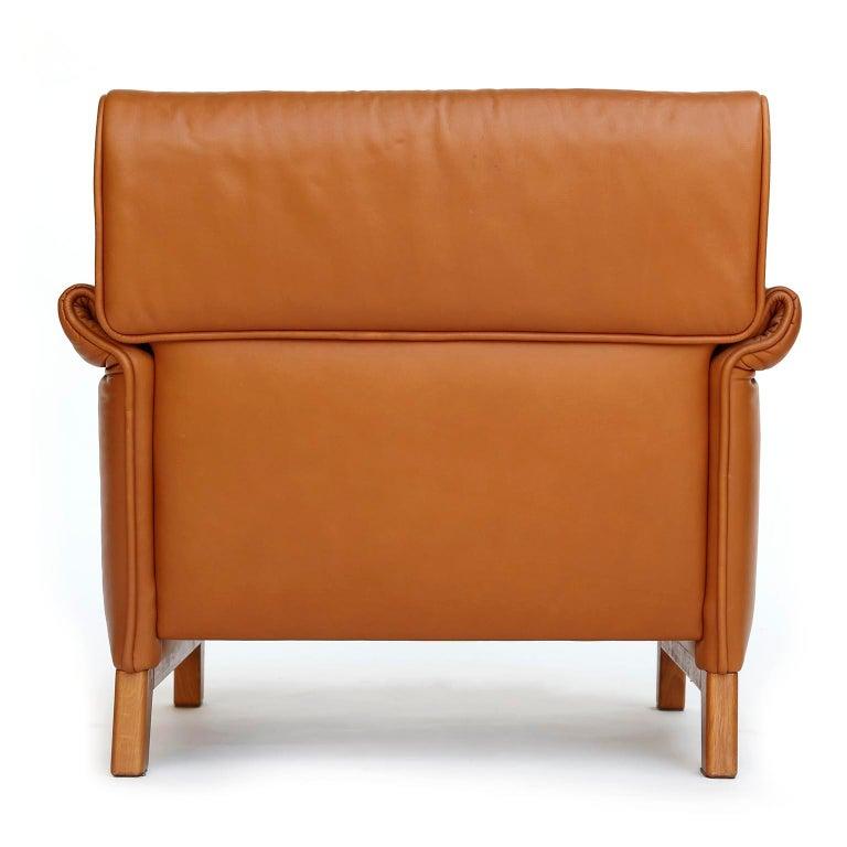 Late 20th Century 1 of 7 De Sede 'DS-14' Armchair Lounge Chair, Cognac Leather Teak, 1990s For Sale