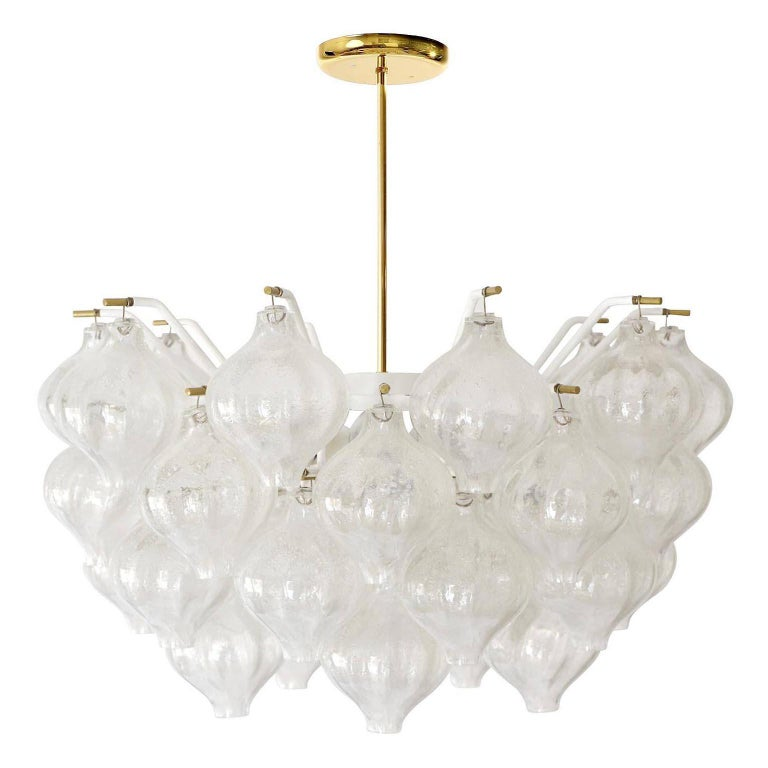 Mid-Century Modern Set Kalmar Chandelier and Pair of Sconces Wall Lights 'Tulipan' Glass Brass 1970 For Sale
