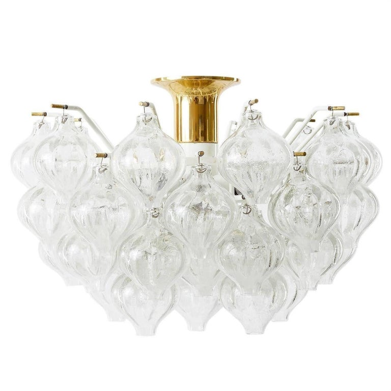 Austrian Set Kalmar Chandelier and Pair of Sconces Wall Lights 'Tulipan' Glass Brass 1970 For Sale