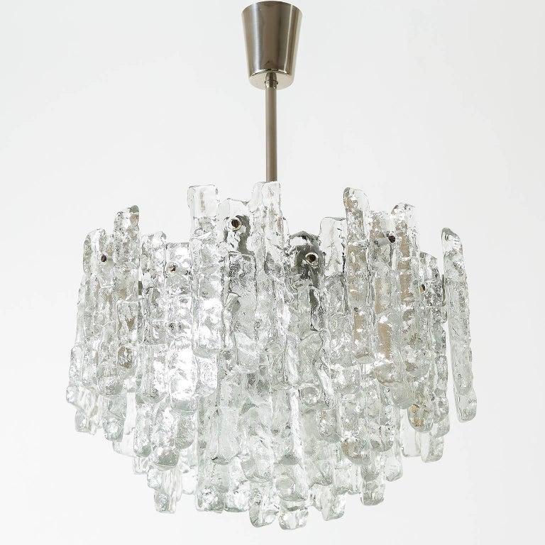 Mid-Century Modern Kalmar Ice Glass Chandelier, 1970, 1 of 2 For Sale