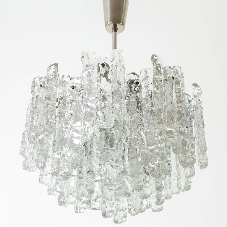 Austrian Kalmar Ice Glass Chandelier, 1970, 1 of 2 For Sale