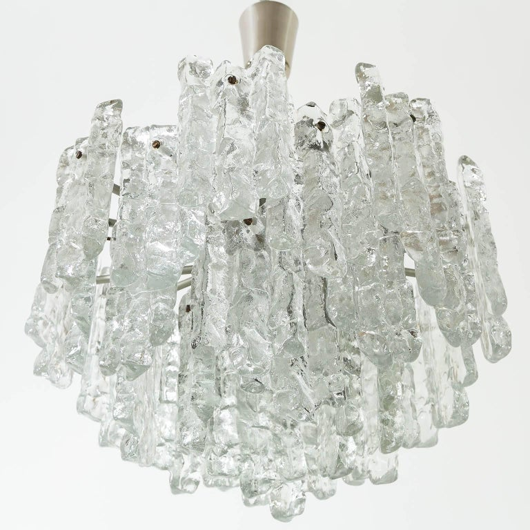 Lacquered Kalmar Ice Glass Chandelier, 1970, 1 of 2 For Sale