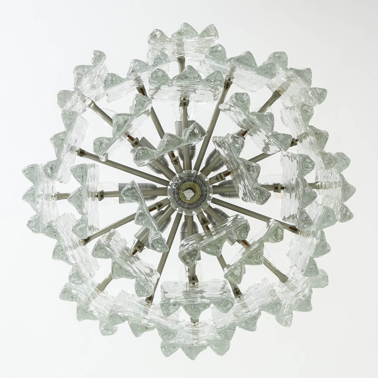 Kalmar Ice Glass Chandelier, 1970, 1 of 2 In Excellent Condition For Sale In Graz, AT