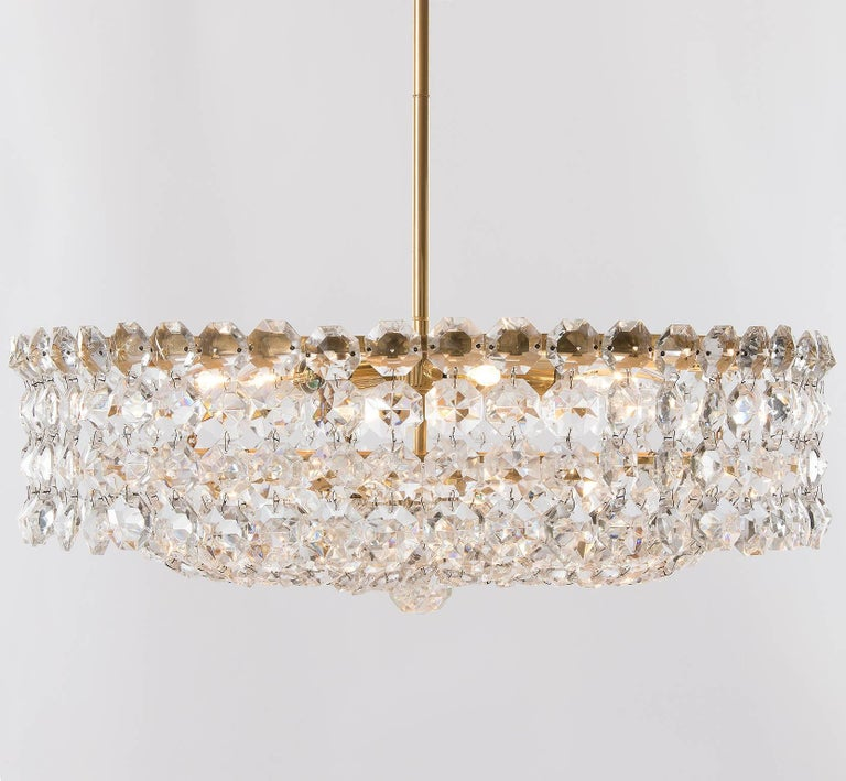 Pair of Bakalowits Chandeliers Pendant Lights, Crystal Glass Gilt Brass, 1960 For Sale 2