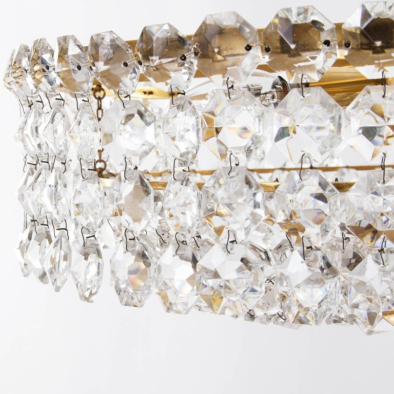 Pair of Bakalowits Chandeliers Pendant Lights, Crystal Glass Gilt Brass, 1960 For Sale 5
